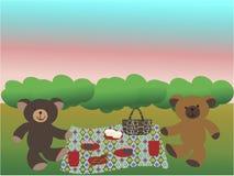 Osos que tienen una comida campestre en la hierba ilustración del vector