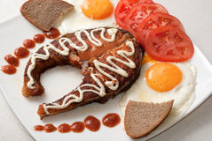 łososia piec na grillu stos Obraz Stock