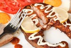łososia piec na grillu stos Zdjęcie Royalty Free