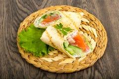 Łososiowa chlebowa rolka Obrazy Stock