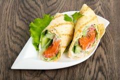 Łososiowa chlebowa rolka Fotografia Stock
