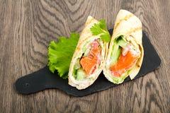 Łososiowa chlebowa rolka Zdjęcia Royalty Free