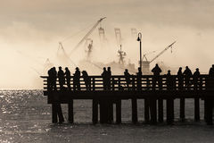 Łososiowi rybacy na Elliott zatoce w Seattle, Waszyngton Obraz Stock