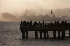 Łososiowi rybacy na Elliott zatoce w Seattle, Waszyngton Fotografia Stock