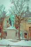 OsOSLO, NORVEGIA - 26 MARZO, 2018: Vista all'aperto del monumento a Henrik Wergeland, scrittore norvegese famoso, poeta Fotografia Stock