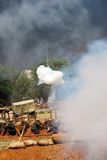 Osovets battle reenactment. Fume and fire. Royalty Free Stock Photography