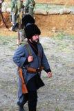 Osovets stridreenactment Marschera soldater Fotografering för Bildbyråer