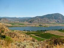 Osoyoos Lake and Town of Osoyoos, British Colombia, Canada. Osoyoos Lake and Town of Osoyoos in Okanagan Valley British Colombia, Canada royalty free stock images