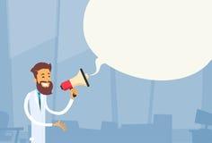Ospedale bianco dello spazio della copia della bolla di chiacchierata dell'altoparlante di medico Man Hold Megaphone Immagini Stock Libere da Diritti