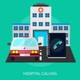 Ospedale che chiama progettazione concettuale illustrazione vettoriale