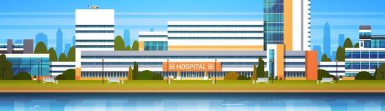 Ospedale che costruisce l'insegna moderna esteriore di Horiozontal di vista della clinica royalty illustrazione gratis
