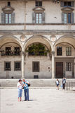 Ospedale degli Innocenti Florence. FLORENCE, ITALY - MAY 4- Ospedale degli Innocenti in Florence on May 4, 2013. Designed by Filippo Brunelleschi, who received Stock Images