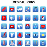 Ospedali relativi delle icone mediche Fotografia Stock Libera da Diritti