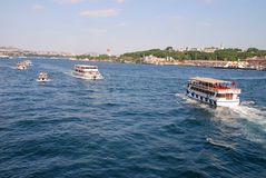 Bosphorus Cruise, boats on Bosphorus Stock Image