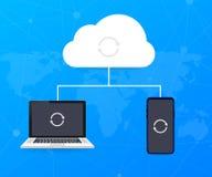 Ospitalit? del concetto della nuvola con il computer, lo smartphone e la compressa, tecnologia di computazione della nuvola Illus illustrazione vettoriale
