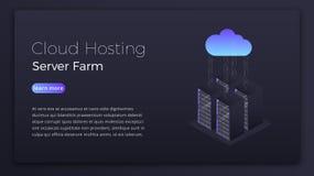 Ospitalità della nuvola Dati che ospitano concetto isometrico del server della nuvola Progettazione dell'immagine moderna dell'er royalty illustrazione gratis