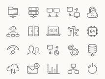 Ospitalità della rete e linea icone dei server illustrazione di stock