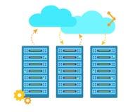 Ospitalità del concetto con le archiviazioni di dati Informazioni di scambio Illustrazione piana di vettore Fotografie Stock