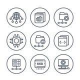 Ospitando, reti, ftp, linea icone dei server messe royalty illustrazione gratis