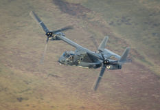Osprey helicopter US Air Force. United States Air Force USAF CV22 variant of the V22 Osprey helicopter on a low level training mission over the UK 15th March Royalty Free Stock Photos