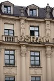 Osram Munich. Munich, Germany - June 29, 2018: The logo of the company Osram a producer of bulbs at a historic building in the old town on June 29, 2018 in stock photo