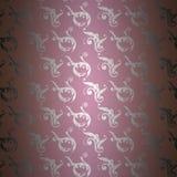 Osrebrza adamaszkowego wzór na purpurach Zdjęcie Royalty Free