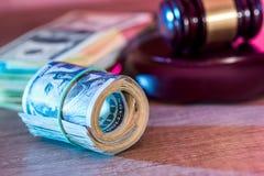 oss dollar med trähammaren Royaltyfri Foto