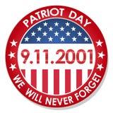 oss skyddsremsa- och banerillustrationdesign September 11 Vi ska glömma aldrig royaltyfri illustrationer