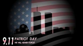 oss skyddsremsa- och banerillustrationdesign September 11 Vi ska glömma aldrig vektor illustrationer