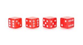 Ossa di gioco trasparenti rosse Fotografie Stock Libere da Diritti