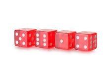 Ossa di gioco trasparenti rosse Fotografie Stock