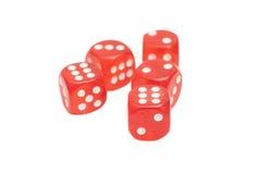 Ossa di gioco trasparenti rosse isolate Fotografia Stock Libera da Diritti