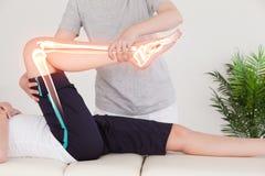 Ossa evidenziate della donna al fisioterapista Fotografie Stock