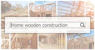 Ossatura muraria di legno alla costruzione di alloggi multifamiliare il concetto di servizio per la datazione del collage della f Fotografia Stock