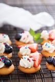 Ossequi minuscoli del dolce con i wafer della vaniglia Immagini Stock Libere da Diritti