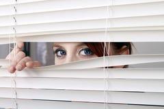 Osservando attraverso i ciechi di finestra Immagini Stock