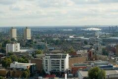 Osservando da Stratford a Greenwich, Londra Fotografia Stock Libera da Diritti