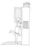 Osservando nel guardaroba illustrazione di stock