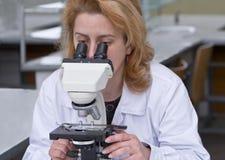 Osservando tramite un microscopio Fotografia Stock