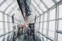 Osservatorio della costruzione del centro finanziario del mondo di Shanghai Fotografie Stock Libere da Diritti