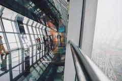 Osservatorio della costruzione del centro finanziario del mondo di Shanghai Fotografia Stock Libera da Diritti