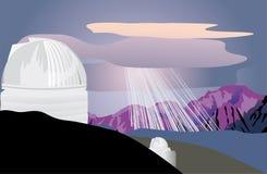 Osservatorio di astronomia in montagne royalty illustrazione gratis