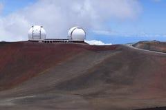 Osservatorio di Keck, vicino alla sommità di Mauna Kea, grande isola Hawai Fotografia Stock