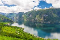 Osservi a Aurlandsfjord un ramo di Sognefjord, Norvegia immagini stock