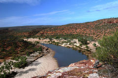 Osservi giù la gola all'Australia occidentale di Kalbarri NP fotografia stock
