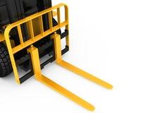 Osservi il carico del carrello elevatore a forcale del primo piano isolato su fondo bianco rappresentazione 3d Fotografia Stock Libera da Diritti