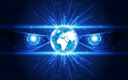 Osservi il fondo cyber di concetto della tecnologia di sicurezza del robot in futuro, illustrazione di vettore royalty illustrazione gratis