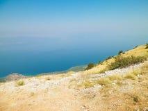 Osservi la cima della forma delle montagne nel parco nazionale di Galicica, Macedonia immagini stock libere da diritti
