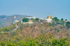 Osservi la collina pittoresca di Sagaing fotografia stock libera da diritti