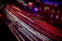 Osservi le luci di una città di notte Fotografie Stock